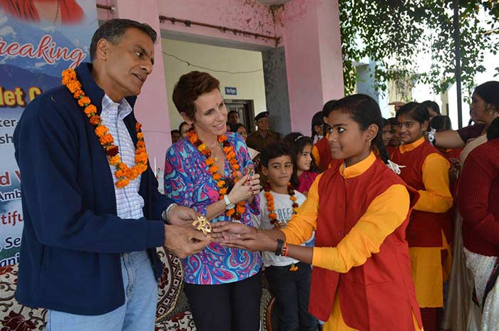United States Ambassador Lays First Bricks for Girls' Bio-Toilets (18)